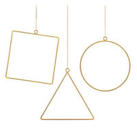 2X(3 Pack Metal Geometric Hoop Wreath e, Artificial Flower Garland Hanging F7N7