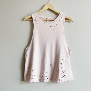 Alo Yoga Womens Blush Pink Distressed 100% Cotton Muscle Tank Top Size Medium