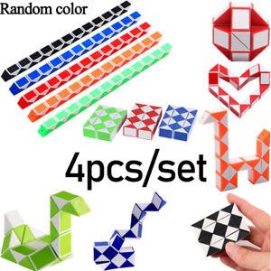 24 Block 4PACK Magic Snake Cube Kids Brain Teaser Mini Speed Twist Puzzle Toy UK