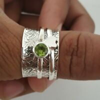 Peridot Ring Spinner Ring,925 Sterling Silver Wide Band Handmade All Size P-4