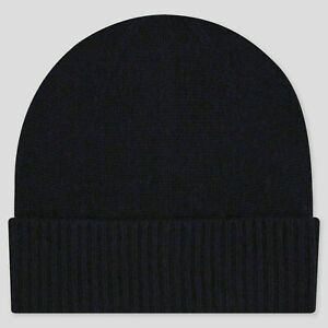 Uniqlo Navy Blue 100% Cashmere Knitted Beanie Hat NWT