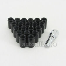 20x M12X1.25 STEEL WHEEL RIM LUG NUTS OPEN END WITH LOCK KEY Black Subaru NIssan