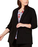 Bar III Womens Blazer Black Size 1X Plus One-Button Sheer Two-Pockets $129 345