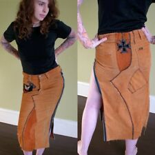 Coren Parks Corey Punk Rock n Roll Couture Custom OOAK Upcycled Skirt Suede XS S