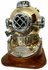 "18"" Inch US Navy Diving Helmet ~ Mark V Deep Sea Divers Scuba With Wooden Base"