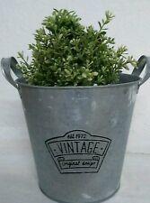 Neu Cottage Zinkeimer mit Henkel, Vintage, Eimer rund, Ø 18 x H 17 cm Pflanztopf