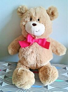 """With Love Tesco Teddy Bear Red Bow 12"""" Soft Toy Plush Comforter Machine Wash EXC"""