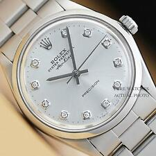 MENS 34mm ROLEX AIR-KING SILVER DIAMOND DIAL OYSTER PERPETUAL SS WATCH