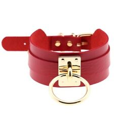 New Fashion Punk Gothic Wide PU Leather O Ring Collar Choker Necklace Women
