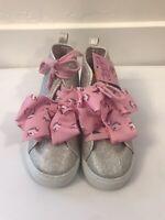 NEW JOJO SIWA Girls Size 12 Pink & Silver Sparkle Unicorn Bow Sneakers High Top