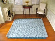 "dollhouse doll house miniature Lush Woven Rug Carpet Blue 7"" x 7"""