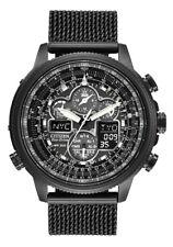New Citizen JY8037-50E Eco-Drive Chrono Black IP A-T Mesh Band Men's Watch