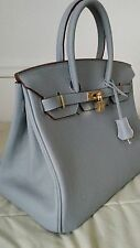 BLUE LEATHER BIRKIN INSPIRED HANDMADE BAG W/LOCK AND KEY GOLD ACCENTS MED. 35CM0