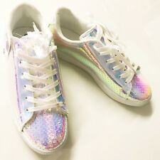 58a25c76997 New Rainbow Shiny Women Comfort Silver Artist Lace-Up Sneaker BRIGHT Size 8