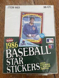 1986 FLEER STAR STICKERS MLB Baseball 36 Count Wax Box Factory Sealed