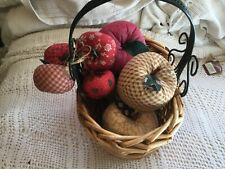 Wicker and green metal Basket With 8 Fabric Apples ,Apple Decor