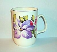 Rose of England Mug Cup Fine Bone China Pink Purple Flowers 8 Oz FREE SHIPPING