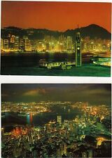 2 Uncirculated Postcards - Hong Kong At Night  Ex Cond
