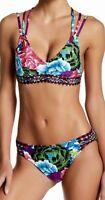 LA BLANCA Flora Garden Strappy Top Side Tab Bikini 2pc Swimsuit Womens 8 12 14