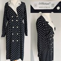 St Michael Vintage Black White Midi Dress Polka Dot Chiffon Button Up Size 10