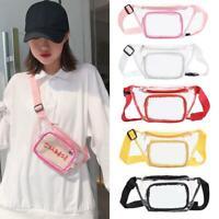 Clear PVC Waist Bags Women Girls Zipper Phone Pouch Chest Belt Fanny Pack Purse