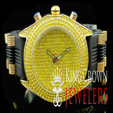 Bling Master Mens Canary Lab Diamond Iced Out Band Joe King Rodeo Custom Watch
