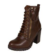 MALIA Soda Women's Zipper Lace Up Block Heel Ankle Boots Size 5.5 -11 Brown