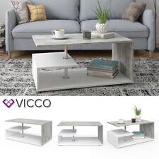 VICCO Couchtisch GUILLERMO in Weiß Beton Optik Wohnzimmer Sofatisch Kaffeetisch