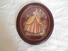 "Vintage Turner Victorian girl print in wood oval frame 12 1/2 x 14 1/2"""