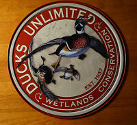 DUCKS UNLIMITED WETLANDS CONVERSATION Hunting Lodge Cabin Decor Round Sign NEW