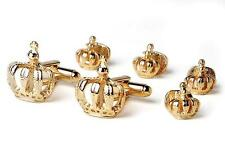 New Gold King's Crowns 2 cufflinks 4 studs Made in USA 1 Yr. Mardi Gras