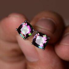 Women 925 Silver Cut Mystic Rainbow Topaz Stud Earrings Wedding Party Jewelry