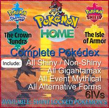 Complete Pokedex Sword Shield ✨SHINY & NON-SHINY✨All Pokemon Home FAST DELIVERY