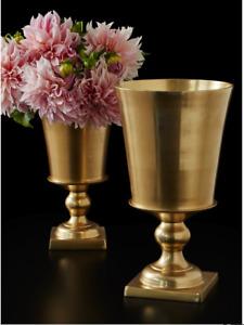 GOLD PEDESTAL URN Table Floral Vase Bowl Party Wedding Reception Aluminum