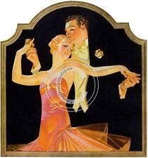 Vintage Image Art Deco Dance Couple Ornate Frame Waterslide Decals WOM906