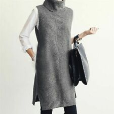 Pullover Turtleneck Long Knitted Vest For Ladies Sleeveless Outdoor Winter Wears