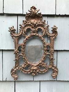 """12"""" Antique Cast Bronze Metal Elaborate Empire Oval 5 x 3"""" Picture Wall Frame"""