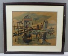 "ORIGINAL 1937 Chaim Gross 1904-1991 Abstract WATER COLOR PAINTING ""REFLECTION"""