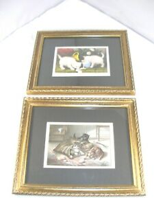 Set of 2 Whimsical  Matted Cat Prints in Gold Gilt Frames