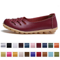 Womens Chic Hollow Out Leather Driving Moccasin Flat Loafers Casual Single Shoes
