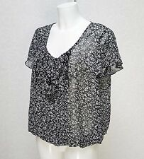 W BHS floral Black White sheer chiffon Ruffle Frill neck & Sleeve Top Blouse 16