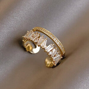 Fashion 925 Sliver Zircon Gold Ring Figure Open Adjustable Women Jewelry Gifts