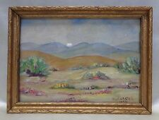 D.L. Chester 1956 Mountain Desert Oil Painting in Gold Antique Wooden Frame