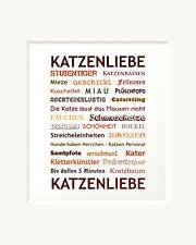 Bild | Katzenliebe | Passepartout Kunstdruck Wandbild | Katze | Geschenk | 30 cm