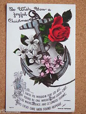 R&L Postcard: Christmas Greetings, Floral Rose Ships Anchor, Tattoo Interest
