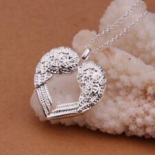 Fashion 925 Silver Angel Wing Heart Charm Pendant Necklace Chain Women Jewelry