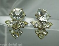 VTG Silver Tone 1940's Art Deco Clear Rhinestone Screwback Earrings