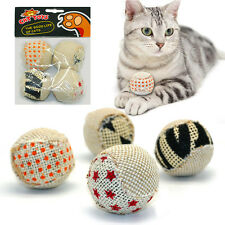 4 Pcs Cat Exercise Toy Balls Pet Interactive Play Chewing Rattle Scratch Toys
