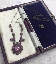 Edwardian Amethyst Crystal Brass Necklace