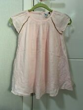 3 POMMES GIRLS PALE INK SWING STYLE DRESS WITH EMBROIDERED HEMLINE - 18MTHS 86CM